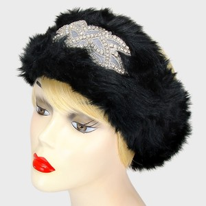 Black Faux Fur Crystal Accent Stretchable Winter Headband Earmuff Hair Accessory