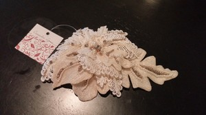 Cassandra Lynne Ivory/champagne Floral Lace Bridal Hairpiece