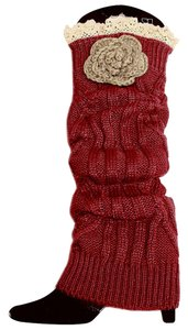 Burgundy Knitted Lace Top Flower Accent Leg Warmer Boot Socks Boot Topper