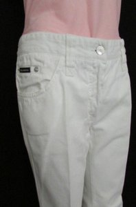 Dolce&Gabbana Usedwomen White Casual Denim Dg Fashion Wide Straight Leg Jeans
