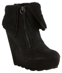 Ash Suede Shearling Wedge Ankle Black Boots