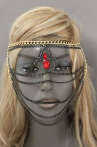 Other Women Head Metal Chain Fashion Jewelry Gold Black Web Red Spider Mask Costume