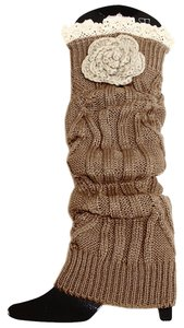Brown Knitted Lace Top Flower Accent Leg Warmer Boot Socks Topper