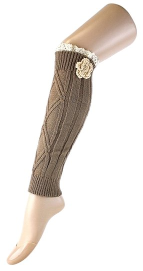 Other Brown Knitted Lace Top Flower Accent Leg Warmer Boot Socks Topper Image 1