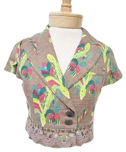 Nanette Lepore Nanette Lepore Tan Exotic Paisley Short Sleeve Cropped Embellished Jacket