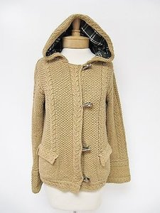 525 America Womens Camel Knit Toggle Hooded Cardigan Sweater