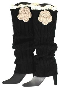Black Knitted Lace Top Flower Accent Leg Warmer Boot Socks Boot Topper