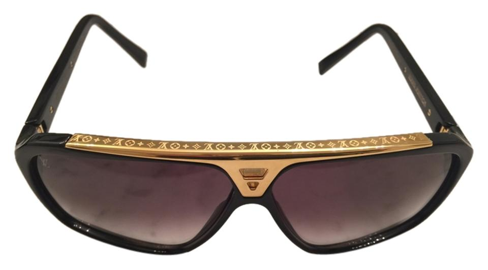 035989133a Louis Vuitton Black with Gold W Evidence Nm Sunglasses - Tradesy