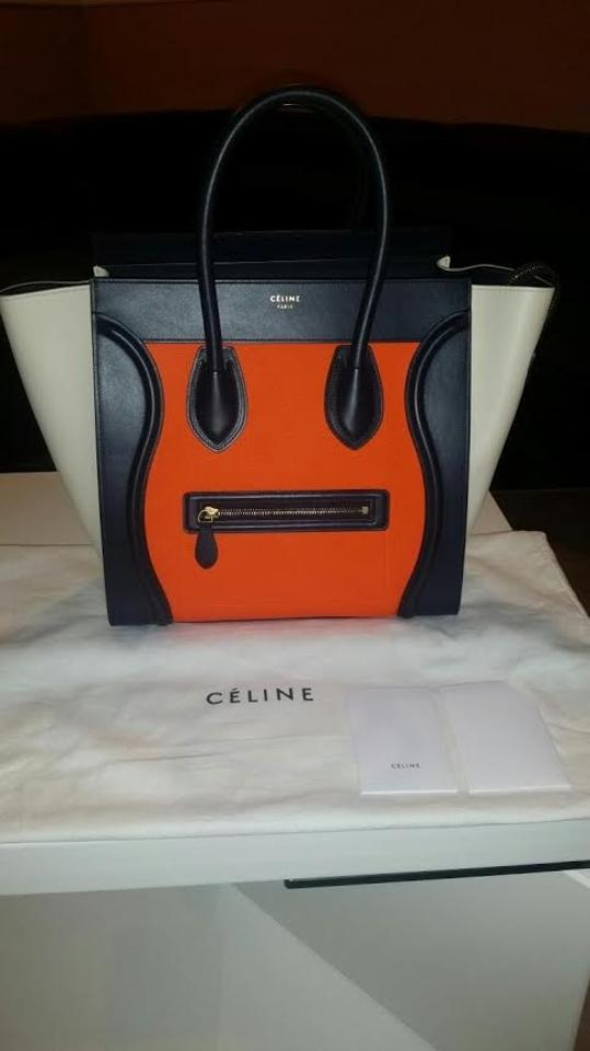 céline luggage mini in tricolor bright elephant textured calfskin