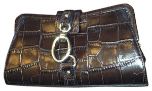 Ann Taylor Crocodile Gold Gold Hardware Brown Clutch