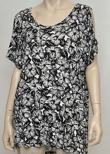 Michael Kors Womens Black White Floral Cold Short Sleeve Tee Shirt 2x Top Multi-Color