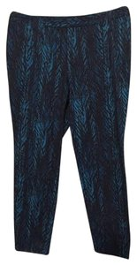 Style & Co & Co. Blue Floral Tropical Ankle Leg Stretch Straight Pants