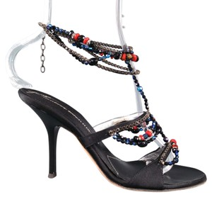 Giuseppe Zanotti Chain Beaded Ankle Strap Black Sandals