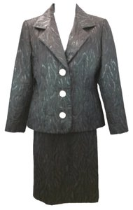 Givenchy GIVENCHY COUTURE TEXTURED BLACK SKIRT SUIT 40