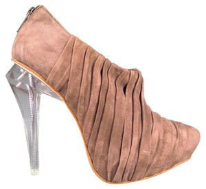 Alexander Wang Pleated Suede Booties Taupe Platforms