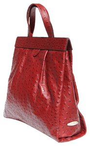 Mark Cross Leather Ostrich Look Tote in dark red