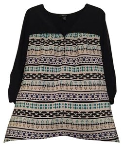 Style & Co & Co. Ethnic Tribal Asymmetrical Three Quarter Sleeves Top