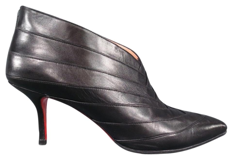 online store d3f15 11744 Christian Louboutin Black Layered Leather Pointed Boots/Booties Size US 7.5
