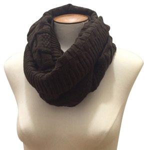 Other Chunky Solid Color Cable Knit Infinity Scarf, Coco Brown