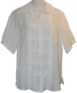 Foxcroft Ruffle Linen Button Down Shirt White