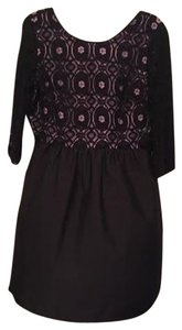 I 'Heart' Ronson Black Lace Purple Knee Length Dress