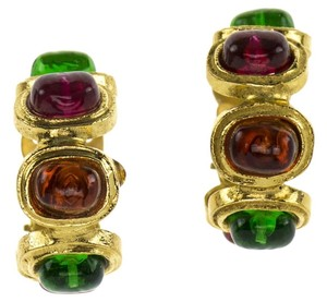 Chanel Chanel Vintage Multi-Colored Gripoix Hoop Earrings