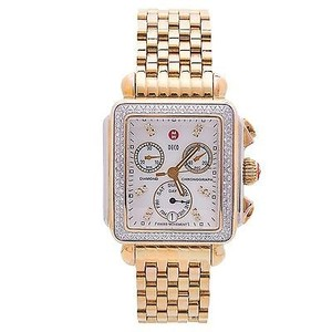 Michele Michele,Deco,Gold,Tone,Steel,0.66ct,Diamonds,Quartz,Ladies,Watch