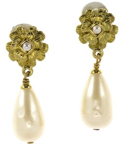 Chanel Chanel Vintage Floral Camellia Faux Pearl Earrings