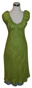 Henrietta Park short dress Green Puff Silk Lime Blue Short Sleeve Two Tone on Tradesy