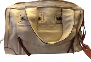 Chlo Chloe Cream Top Handle Satchel in Winter White, with Ox-blood red accents