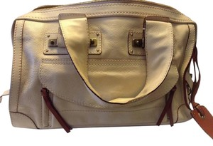 Chloé Chloe Cream Top Handle Satchel in Winter White, with Ox-blood red accents