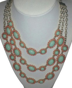 Talbots Multi Strand Oasis Filigree and Cabochon Gold Tone Station Necklace