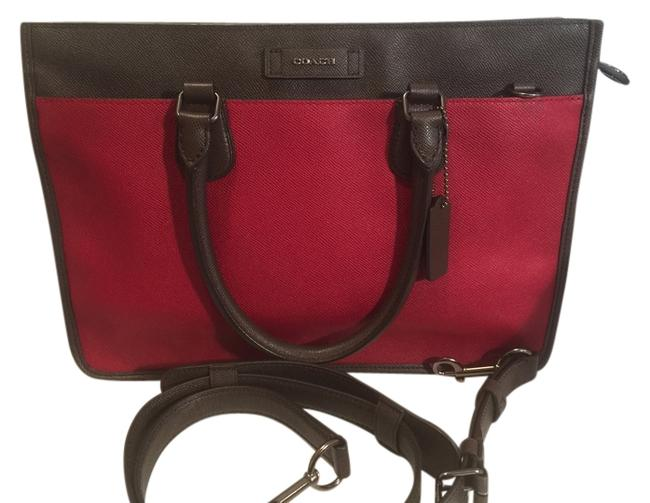 Item - Embassy Brief F71557 Red/Ash Red Currant/ Ash Leather Messenger Bag