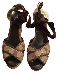 Coach Monogram Brown Wedges