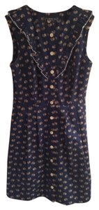 Birds of North America short dress Navy blue, yellow Cotton Floral Retro Ruffle Pockets on Tradesy