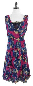 Diane von Furstenberg short dress Pink Blue Floral Print Silk on Tradesy