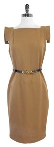 Single Camel Belted Cap Sleeve Dress