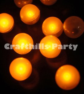 Amber 48 Pcs Led / Yellow Fairy Mini Glowing Waterproof Floating Ball Light For Party Floral Centerpiece
