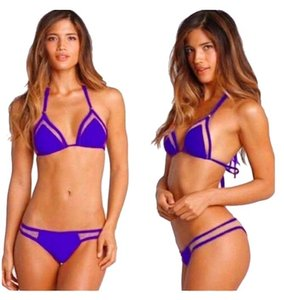 ZoharT Electric Blue Mesh Bandage Bikini Full Set Bikini Top and Bikini Bottom Extra Small, Small, Medium Electric Blue