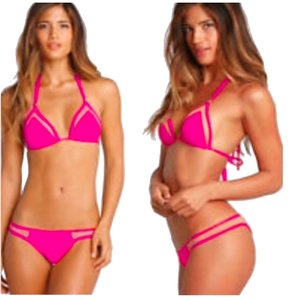 ZoharT Hot Pink Mesh Bandage Bikini Full Set Bikini Top and Bikini Bottom Extra Small, Small, Medium Hot Pink Swimwear
