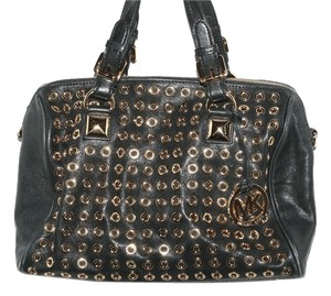 Michael Kors Grommet Greyson Satchel in Black/gold