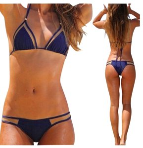 ZoharT Navy Blue Mesh Bandage Bikini Full Set Bikini Top and Bikini Bottom Extra Small, Small, Medium Navy Blue