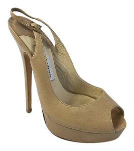 Jimmy Choo Slingback Leather Heels Beige Pumps