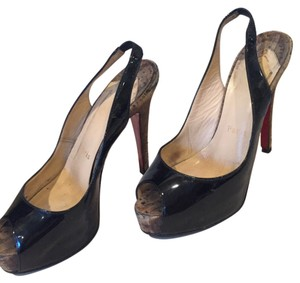 Christian Louboutin Slingback Leather Patent Wooden Heel black Pumps
