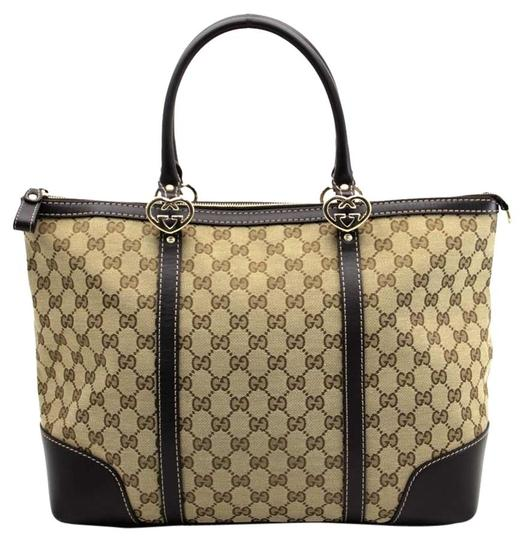 5e7bb68236eaef gucci heart interlocking g pattern ss2469 625 brown with beige gg canvas  leather tri.