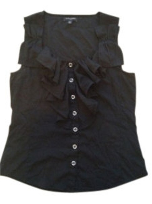 Preload https://item3.tradesy.com/images/banana-republic-black-ruffled-sleeveless-with-clear-crystal-buttons-blouse-size-8-m-6372-0-0.jpg?width=400&height=650