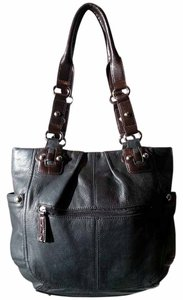 Tignanello Dark Green Dark Brown Decorative Studs/buckles Soft Silver Hardware Rolled Tote Handles Flat Bottom Side Pockets Shoulder Bag