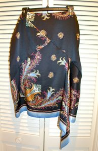 Roberto Cavalli Silk Print Scarf Made In Italy Skirt Black Floral Multi Color w Gold Embroidery