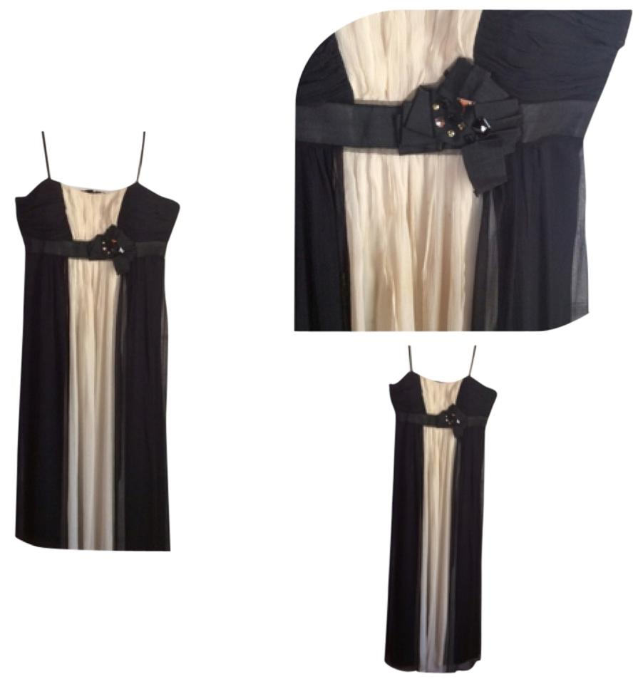 Max and Cleo Black & Ivory Wedding Guest Long Formal Dress Size ...