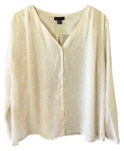 H&M Button Down Flowy Top Tan